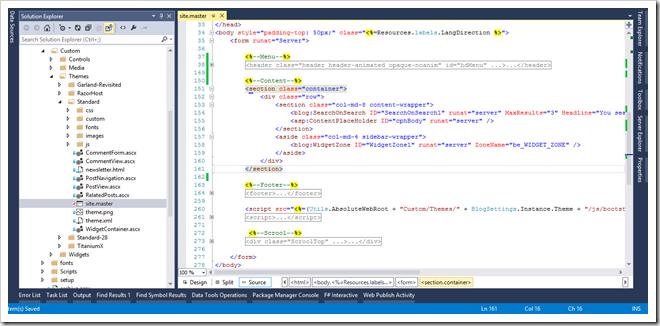 BlogEngine.NET cusotmizácia Master Page