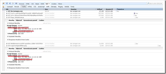 Firebug a cacheovanie na strane clienta v Turingion.com